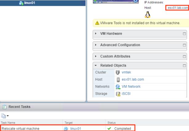 VIRTUAL LAB – PART 8 – Deploying a VM and testing vMotion