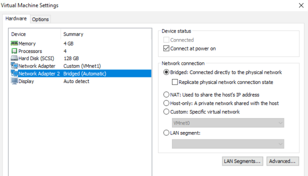The network bridge on device 'VMnet0' is not running